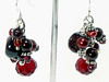 #ME2012<br>Garnet, pearl and crystal<br>Grape cluster earrings.<br>$55.00