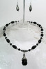 "#26313 <br>Faceted black onyx and pewter drop on black onyx and pewter.  <br>Silver plated clasp and 4"" extender chain.<br> Alice Bailey Designs signature tag.<br>Necklace 16"" to 20"" Limited Edition $75.00<br>Earrings with sterling silver ear wires $26.00"