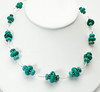"""#18217 Graduated turquoise rondelles, pewter and silver plated tubes.<br>Silver plated clasp and 4"""" built-in extender chain. <br>18"""" to 22"""" Limited Edition. <br>Necklace 95.00"""