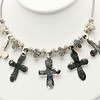 "#12319<br>Pewter crosses<br>On silver/gray rubber.<br>Silver plated clasp and 4"" extender chain.<br>16"" to 20"" Limited Edition.<br>$49.00"