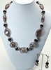 "#12318<br>Black and clear blown glass, black onyx and pewter.<br>Silver plated clasp and 4"" extender chain.<br>18"" to 22"" Limited Edition. <br>Necklace $95.00<br>Earrings with gunmetal French clips $32.00<br>Very lightweight!"