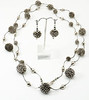 """#28316 <br>Steel wrapped wire, pewter and gunmetal tubes. <br>Magnetic clasp. <br>Wear long at 40"""" or  doubled at 20""""  <br>Necklace Limited Edition.$175.00<br>Earrings with silver plated French clips $27.00"""