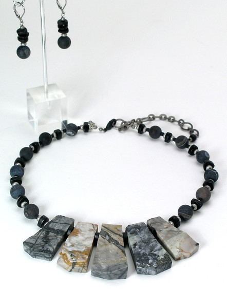 "#27013 <br>Picasso jasper ""fan"" with flat onyx, pewter and steel. <br> Gunmetal clasp and 4"" extender chain.  <br> 17"" to 21"" Limited Edition. <br> Necklace $125.00<br>Earrings not available."