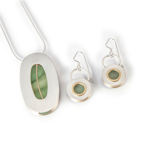 """Necklace MAR\NS71 - Sterling, Gold Fill - Sea Glass - 18"""" Chain - $156, Earring MAR/EM473 - Sterling, Gold Fill, Sea Glass - Out of Stock -  Call 800.272.3870 to order. Pricing and availability subject to change without notice."""