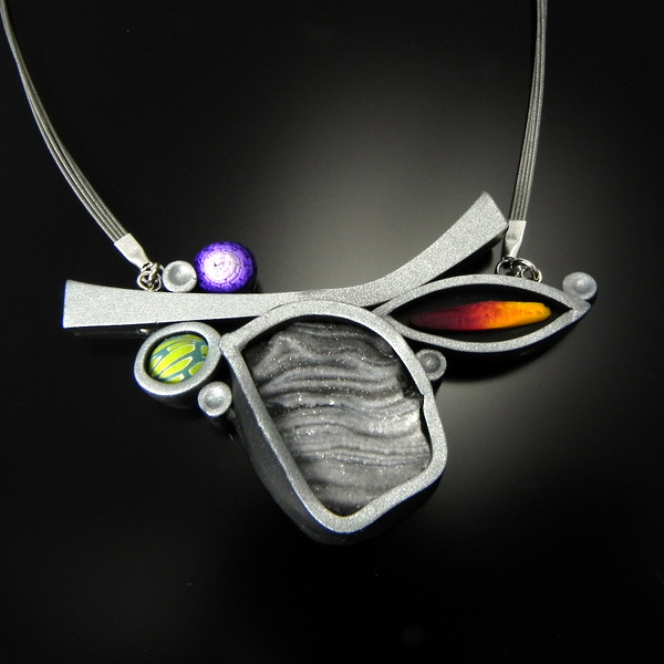 "Necklace ""Druzy2"" in polymer, druzy, sterling silver, and 18"" stainless steel cable coated with nylon."