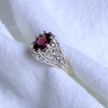 Sterling Silver Ring with Faceted Garnet