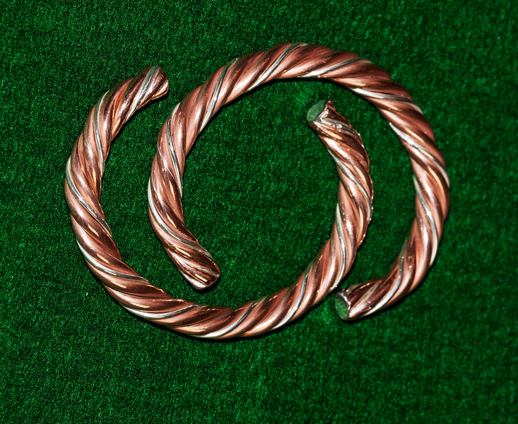 "Silver & Copper ""Rope"" Bracelets"