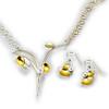 Necklace JNJ K237 & Earrings JNJ KA24K - Sterling and 23K Gold
