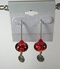 "Handcrafted lampwork glass beads, sterling silver charms,3"" sterling silver threaders. Red, clear. Regular price $30. Sale price $15. SOLD<br /> (e3619)"