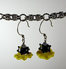 "Handcrafted lampwork glass beads, genuine Swarovski crystals. Yellow, black. These earrings dangle 2"" from the top of the sterling silver earwires. Regular price $25. Sale price $12.50. SOLD<br /> (e3710)"