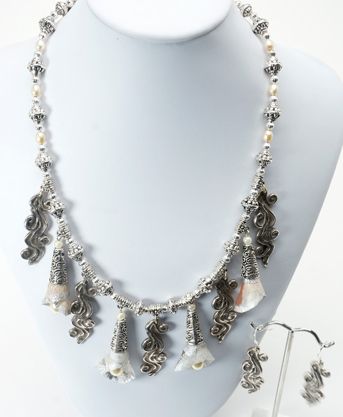 #11815 ABD silver, stabilized silk, pewter and glass pearls.