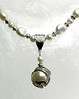 "#10315<br> CLOSE-UP ABD silver ""world"" bead cap and Swarovski pearl drop <br>on natural pearls and pewter. <br>Silver plated clasp and 4"" extender chain. <br>Alice Bailey Designs signature tag.<br>Necklace 16"" to 20"" Limited Edition $125.00"