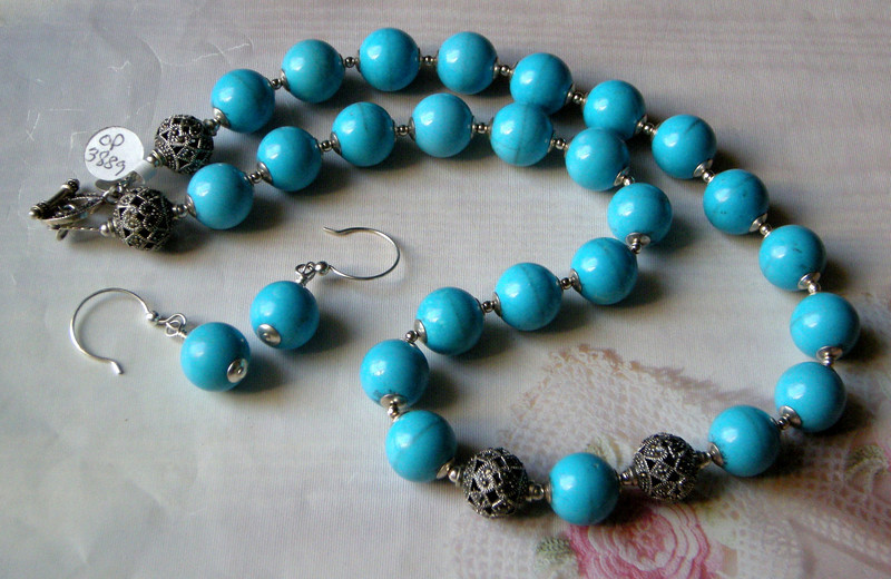 "Stunning robin's egg blue turquoise necklace with sterling silver. Yes, this is REAL turquoise! The large sterling silver beads are handcrafted sterling silver marcasite, as is the toggle clasp. About 20-1/2"" long. The matching earrings are 2"" long.<br /> (op3889k2)"