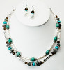 "#10916 <br>Convertible two-strand necklace of pearls,<br> turquoise, labradorite, smokey quartz and pewter. <br>Silver plated clasp and 4"" extender chain. <br>Alice Bailey Designs signature tag.<br> Necklace 16"" to 20"" Limited Edition $99.00<br>Earrings with sterling silver ear wires $28.00<br> Wear either or both strands <br>OR hook together for 35"" long necklace.<br>EASY to change! 4 looks in one piece."