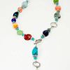 #12719<br>Gaspeite, jasper, strawberry quartz<br>Carnelian, Rose Quartz, jasper,<br>lace agate, crysocolla, jade,<br>Aqua marine, Amazonite, sodalite and dumotorite.<br>Three Pewter toggles.<br>Wear at three lengths. <br>$155.00