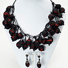 """#21316 <br>Red and black rubber on matte black leather.<br>Gunmetal clasp and 4"""" extender chain. <br>Necklace 16"""" to 20"""" Limited Edition $150.00 <br>Lightweight!"""