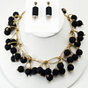 """#20816 <br>Black rubber and gold metallic leather. <br>Gold plated clasp and matte gold 4"""" extender chain.<br> Necklace 16"""" to 20"""" Limited Edition $150.00<br>Earrings with gold plated posts $26.00<br>Super lightweight!"""
