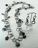 """#18814 Black and white lamp glass on multi-loop gunmetal chain. Magnetic gunmetal clasp. <br>Wear long (as shown)  at 36"""" or doubled at 18"""" Limited Edition.<br>Earrings $45.00"""