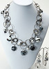 """#18917<br>Lamp glass and glass pearls on antiqued silver multi-loop chain. <br>Antiqued silver clasp and 4"""" built-in extender chain.<br>Necklace 16"""" to 20"""" Limited Edition. $150.00<br>Earrings with surgical steel ear wires $38.00"""