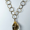 "#25816 <br>Faceted citrine drop on antiqued bronze chain and clasp. <br>20"" or less. Limited Edition $95.00<br> Note: natural stones will vary."