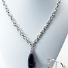 "#15017 <br>Amethyst drop on silver plated clasp and chain.<br>Necklace 20"" or less.Limited Edition $50.00<br>Earrings with silver plated French clips $26.00"