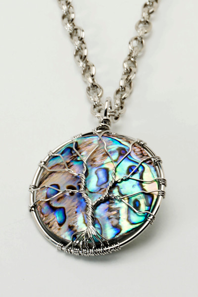 """#15419<br>Wire wrapped Mother of Pearl drop<br>On steel chain. <br>25"""" Limited Edition.<br>$75.00"""