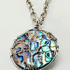"#15419<br>Wire wrapped Mother of Pearl drop<br>On steel chain. <br>25"" Limited Edition.<br>$75.00"