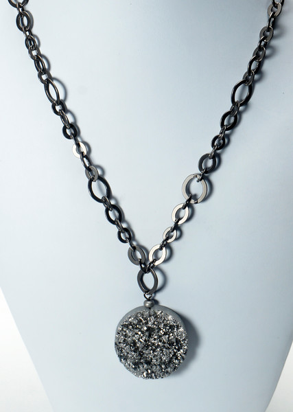 "#13020<br>Silver quartz druzy pendant<br>On gunmetal chain, clasp<br>And 4 "" extender chain.<br>17.5"" to 21.5"" Limited Edition.<br> $65.00"