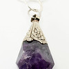 "#15219<br>Amethyst and pewter drop<br>On 36"" silver plated chain.<br>One-of-a-kind. <br>$125.00"