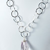 "#26016<br> Pale amethyst on silver plated chain and clasp.<br> 20"" or less. Limited Edition $95.00<br> Note: natural stones will vary."