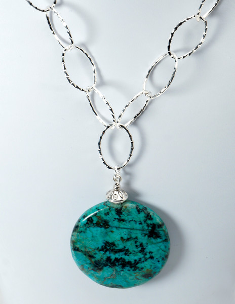 "#26416 <br>Turquoise and pewter drop on silver plated chain and clasp. <br> 20"" or less. Limited Edition $95.00"
