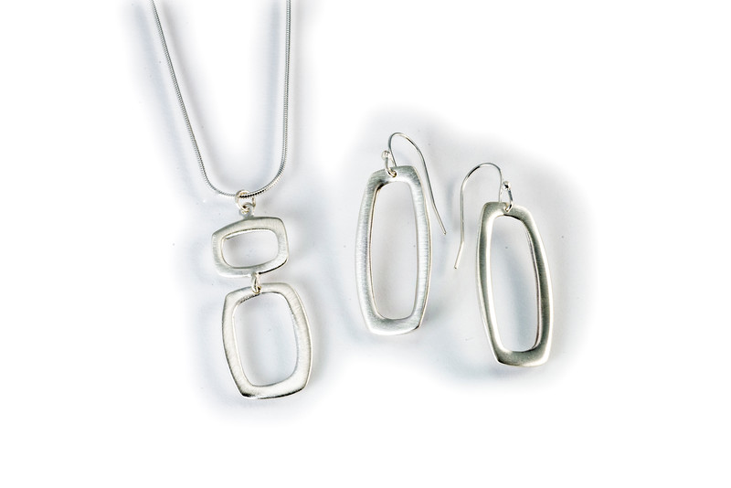 Earring PROE11800 and Necklace PRON11815 both in brushed sterling