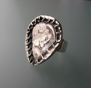 TRIANGLE COIN TEXTURE RING