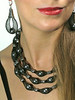 """#27413 <br>Silver glass pearls, pewter and nylon. <br>Silver plated clasp and 4"""" extender chain. <br> Alice Bailey Designs signature tag.<br>Necklace 17.5"""" to 21.5"""" Limited Edition $150.00<br>Earrings with silver plated French clips $38.00"""