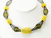 """#17019<br>Yellow mesh and crystal<br>On nylon.<br>Silver plated clasp and 4"""" extender chain. <br>16"""" to 20"""" Limited Edition.<br>$95.00"""