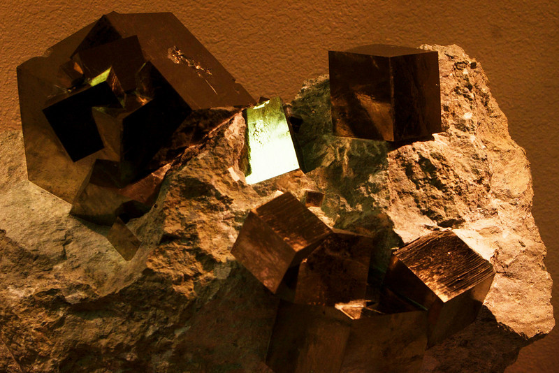 "These iron pyrite cubes from Brazil were perfect cubes from 3 inches down to 1/2""."