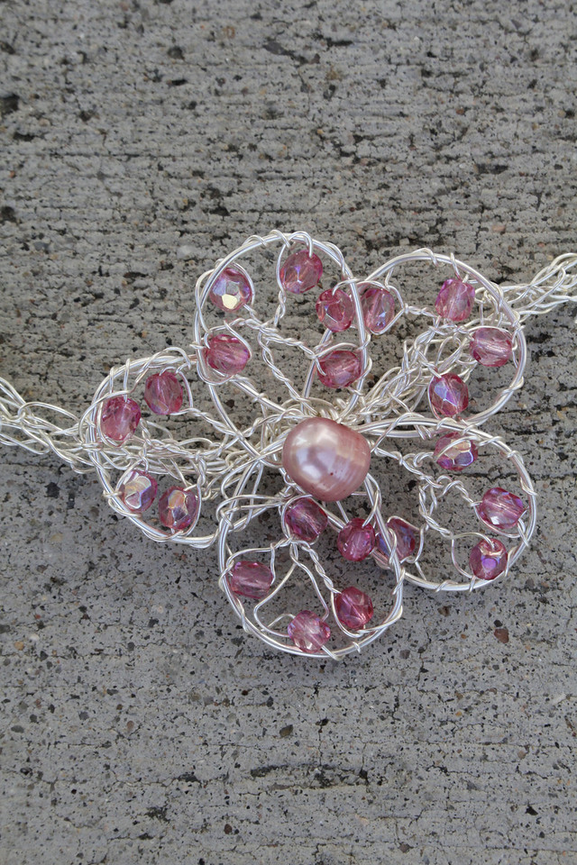 Pretty in Pink<br /> Pink pearl and crystal flower<br /> $25.00