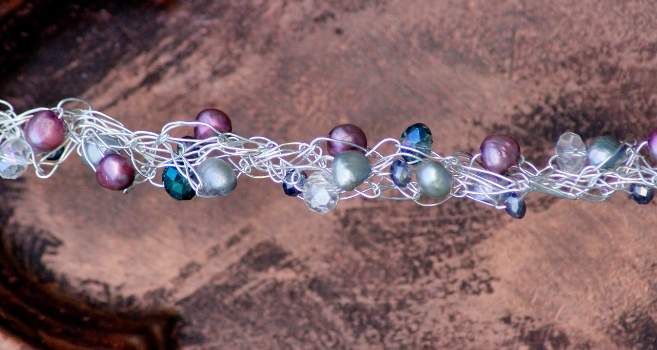 Spring Pink Mix<br /> Spring mix of pearls and crystals on silver wire/<br /> $22.00