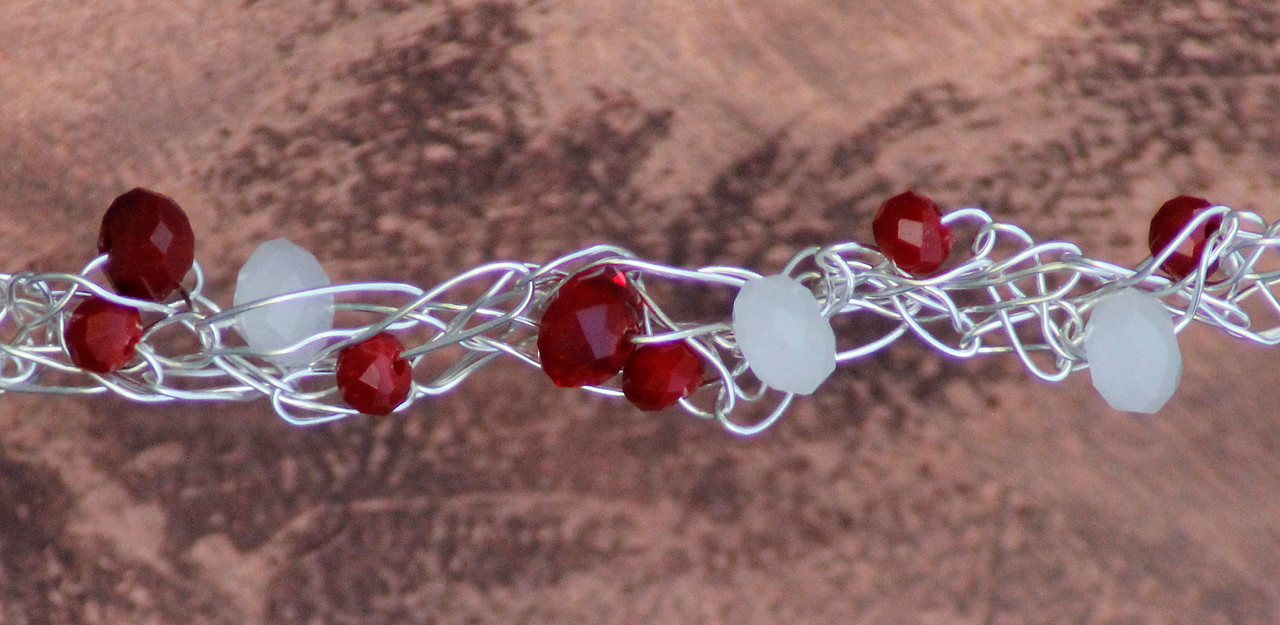 Red & White<br /> Red and White crystals on silver wire.<br /> $22.00