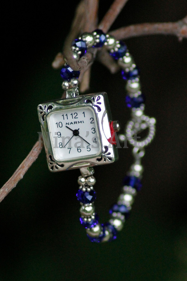 Square Flower royal blue watch