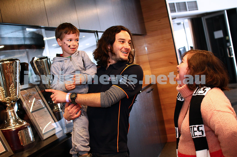 14-6-15. AFL Multicultural Programs Community Ambassadors Joel and Ryan Kuperholz at the Collingwood Football Club's training and membership centre, taking Jewish Care residents to the football. Photo: Peter Haskin
