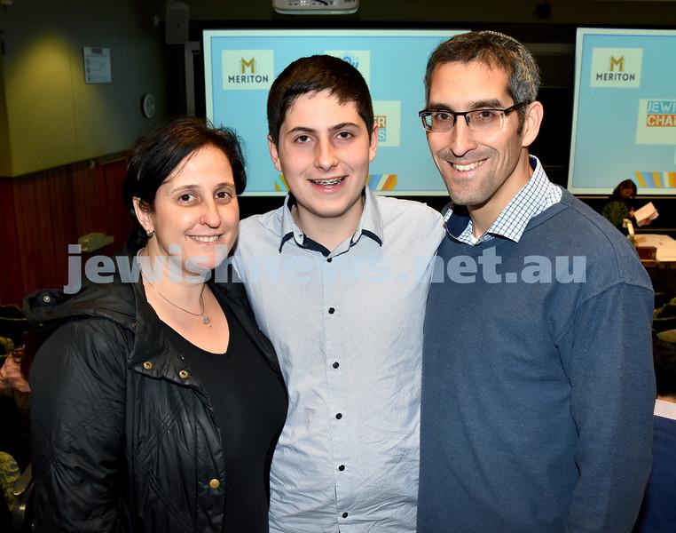 Jewish Changemaker Awards. Sylvia, Rafi, Eitan Franklin. Pic Noel Kessel