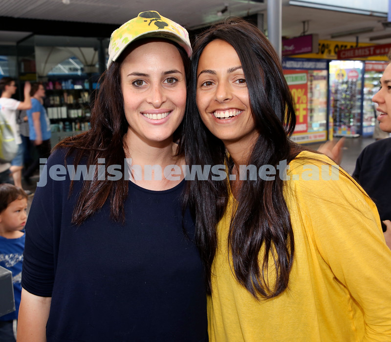 Jewish House Chanukah Party in Bondi Junction Mall. Chana Zaetz (left) & Leyat Reuben. Pic Noel Kessel.