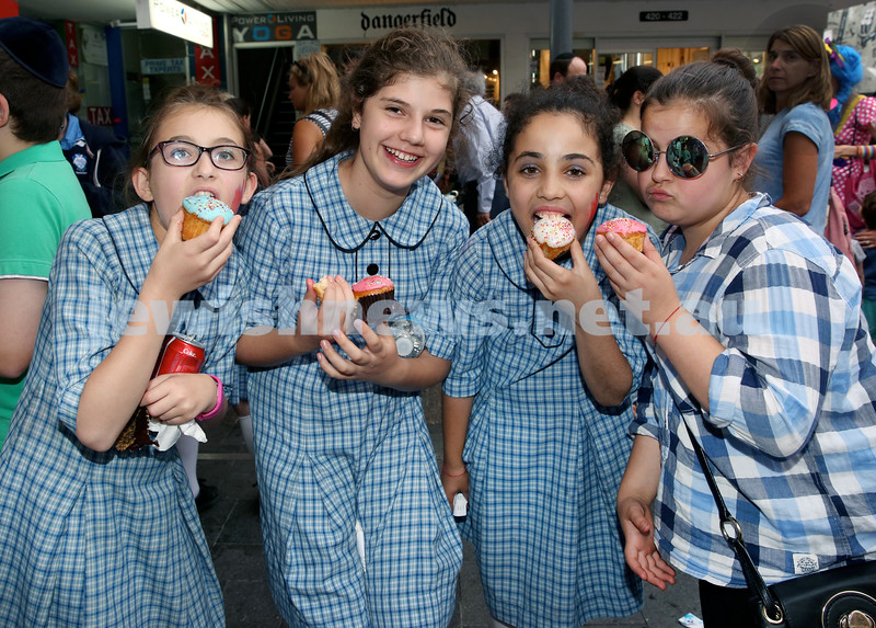 Jewish House Chanukah Party in Bondi Junction Mall. (from left) Batya Moss, Amit Aronstam, Shira Dadon, Sara Chana Straiton. Pic Noel Kessel.