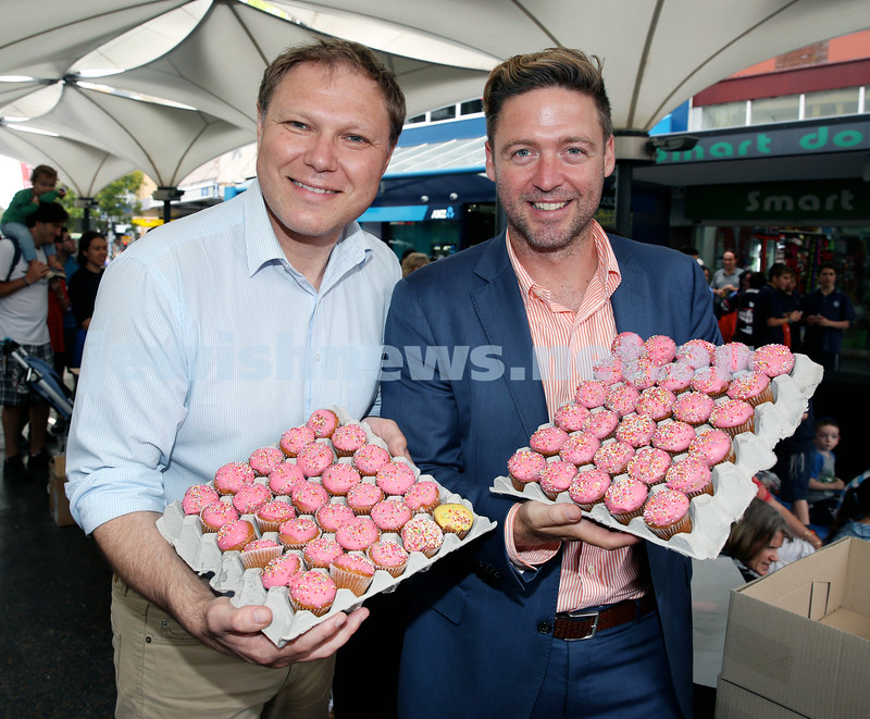 Jewish House Chanukah Party in Bondi Junction Mall. Cr Leon Goltsman (left) & Kieran La Platrier. Pic Noel Kessel.