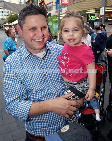 Jewish House Chanukah Party in Bondi Junction Mall. Rob Clifford with his daughter Nina Matilda. Pic Noel Kessel.