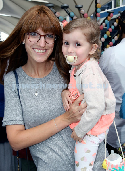 Jewish House Chanukah Party in Bondi Junction Mall. Batya Bassin with her daughter Sarita. Pic Noel Kessel.