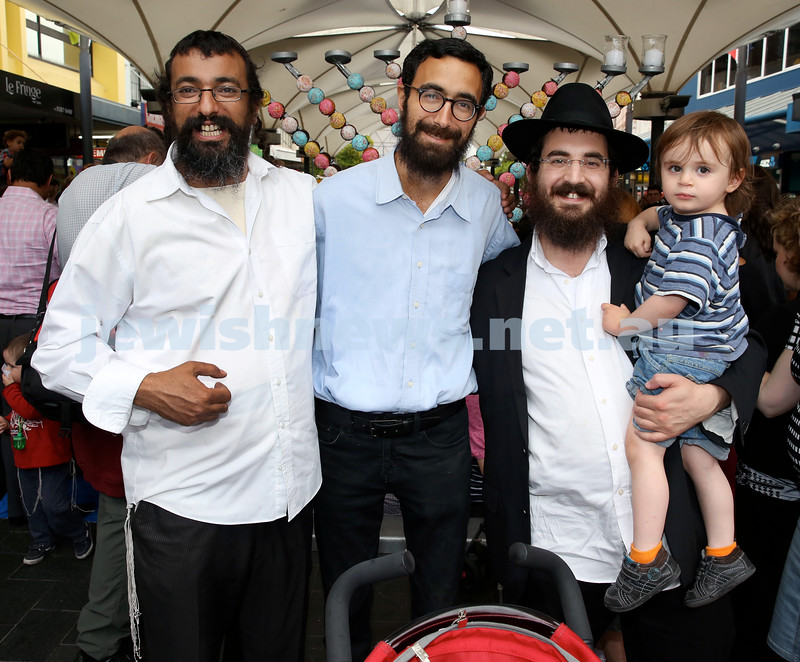 Jewish House Chanukah Party in Bondi Junction Mall. (From left) Rabbi Alon Hazi, Mendy Benhamou, Zalmi Goldstein ,Mendel Goldstein. Pic Noel Kessel.