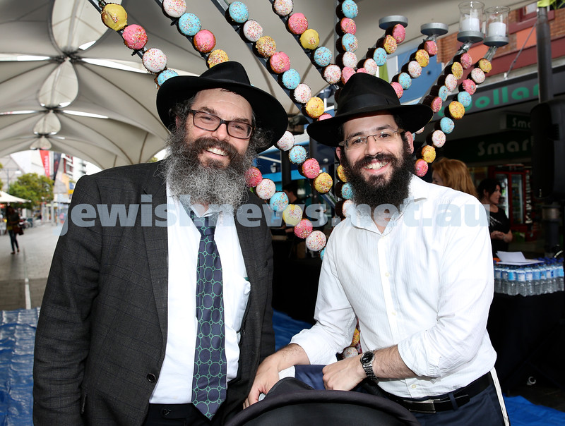 Jewish House Chanukah Party in Bondi Junction Mall. Rabbi Yehuda Straiton (left) & Rabbi Yacov Richter. Pic Noel Kessel.