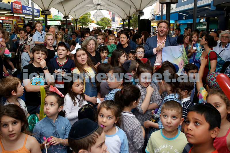 Jewish House Chanukah Party in Bondi Junction Mall. Crowds at the function. Pic Noel Kessel.